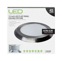 FEIT Electric  LED  2 in. H x 15 in. W x 15 in. L Nickel  LED Flat Panel Light Fixture