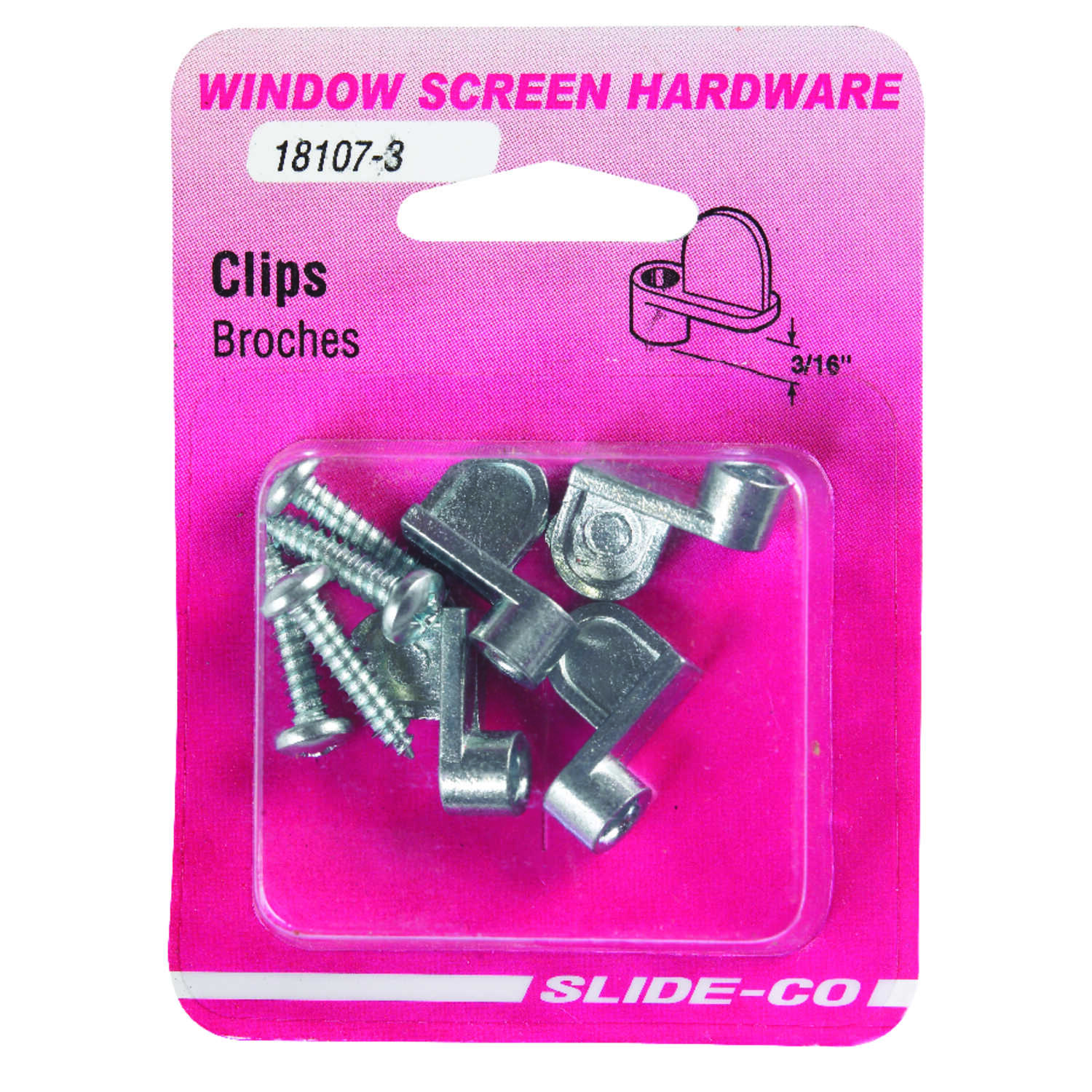 Prime-Line  Mill  Die Cast  Screen Clip  For 3/16 inch 4 pk