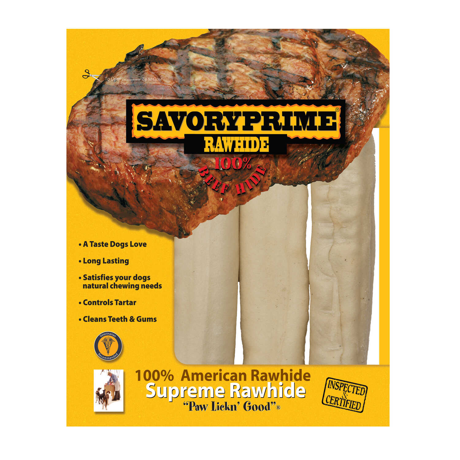 Savory Prime  All Size Dogs  Adult  Rawhide Bone  Natural  6-7 in. L 3 pk