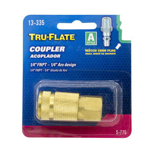 Tru-Flate  Brass  Air Coupler  1/4 in. Female  Female  FNPT  1/4 in. 1/4 in. 1 pc.