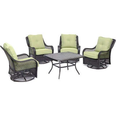 Hanover Orleans 5 pc. Chocolate Brown Wicker Chat Patio Set Green