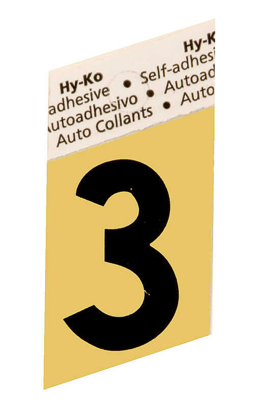 Hy-Ko  1-1/2 in. Aluminum  Black  3  Number  Self-Adhesive