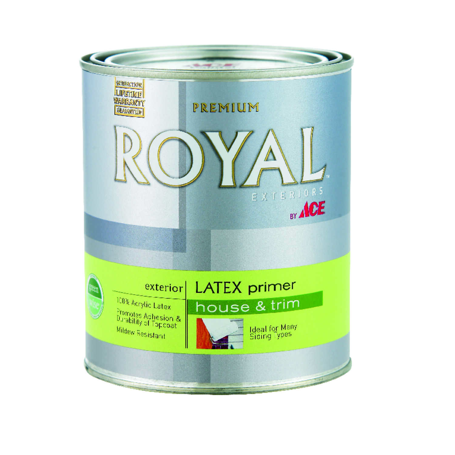Ace  Royal Exteriors  Flat  White  Acrylic Latex  Latex Primer  For Multiple Surfaces 1 qt.