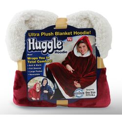 Huggle Hoodie  As Seen On TV  One Size Fits All  Unisex  Burgundy  Hooded Sweatshirt