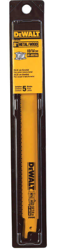 DeWalt  3/4 in. W x 8 in. L Reciprocating Saw Blade  10/14 TPI 5 pk Bi-Metal