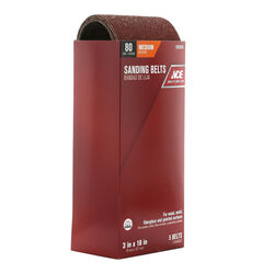 Ace  18 in. L x 3 in. W Aluminum Oxide  Sanding Belt  80 Grit Medium  5 pc.