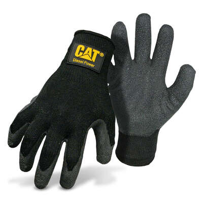 CAT  Diesel Power  Men's  Indoor/Outdoor  Latex Coated  String Gloves  Black  L  1 pair