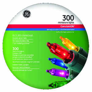GE  Constant On  Incandescent  Mini  Light Set  Multicolored  74 ft. 300 lights