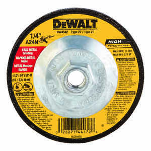 DeWalt  4-1/2 in. Dia. x 1/4 in. thick  x 5/8 in.   Aluminum Oxide  13300 rpm 1 pc. Metal Grinding W