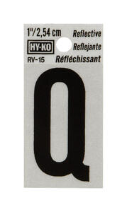 Hy-Ko  1 in. Reflective Black  Vinyl  Letter  Q  Self-Adhesive  1 pc.