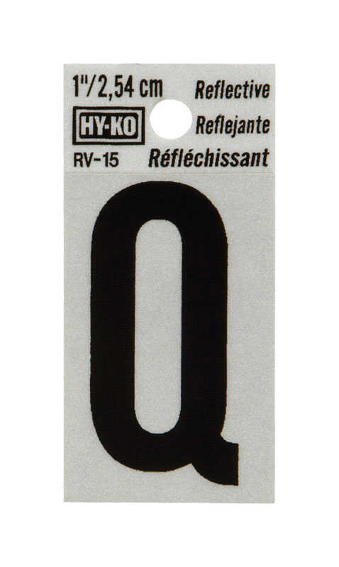 Hy-Ko  1 in. Reflective Vinyl  Black  Q  Letter  Self-Adhesive