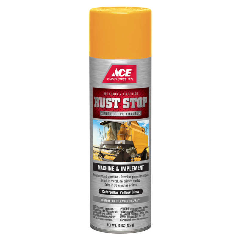 Ace  Rust Stop  Gloss  Protective Enamel Spray  Caterpillar Yellow  15 oz.