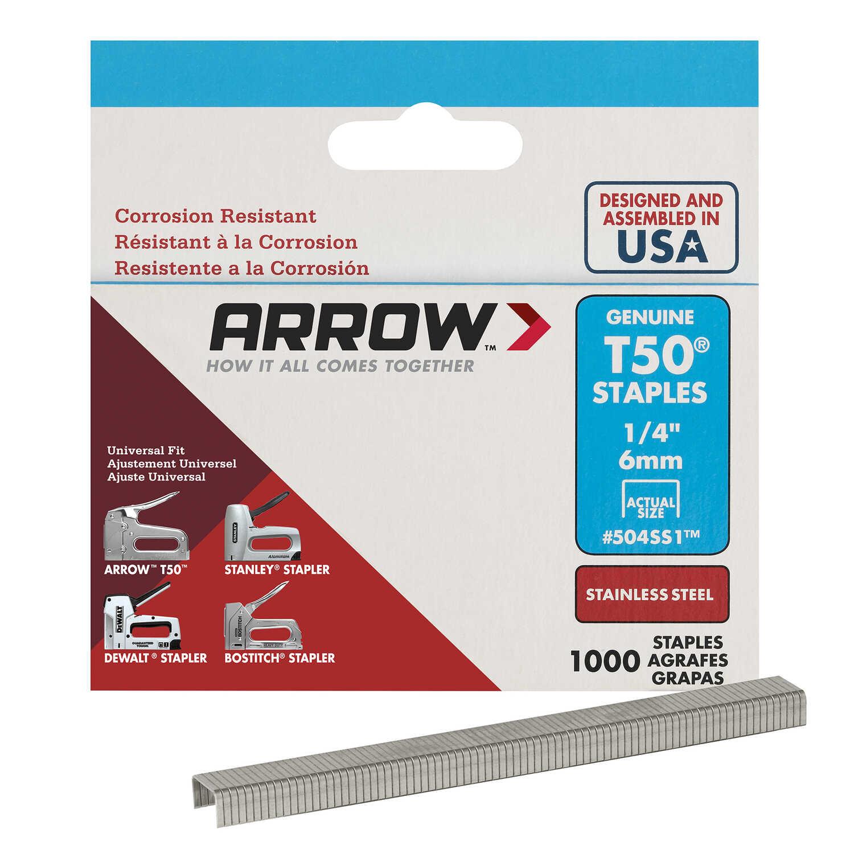 Arrow Fastener 1/4 in  L x 3/8 in  W Stainless Steel Flat