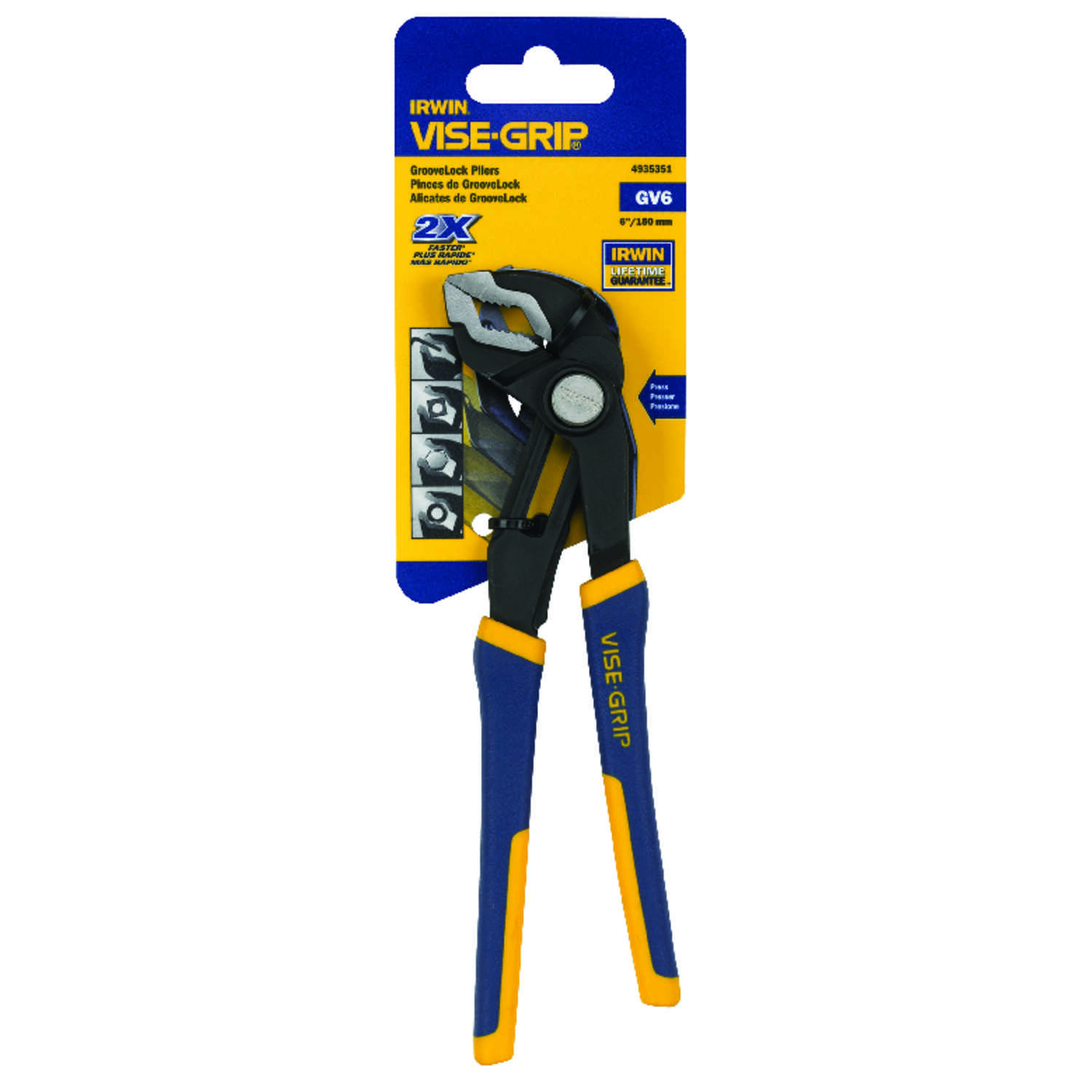 Irwin  Vise-Grip  6 in. Nickel Chrome Steel  Tongue and Groove Pliers  Blue/Yellow  1 pk