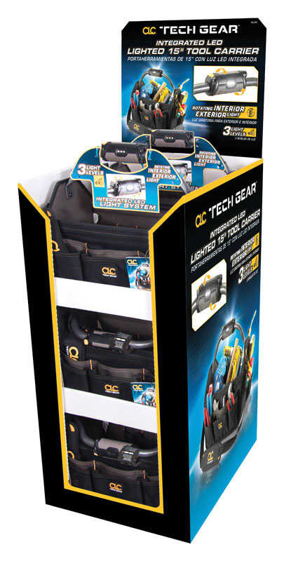 CLC  Tech Gear  8.5 in. W x 11.5 in. H Polyester  Lighted Tool Bag  22 pocket Black  6 pc.