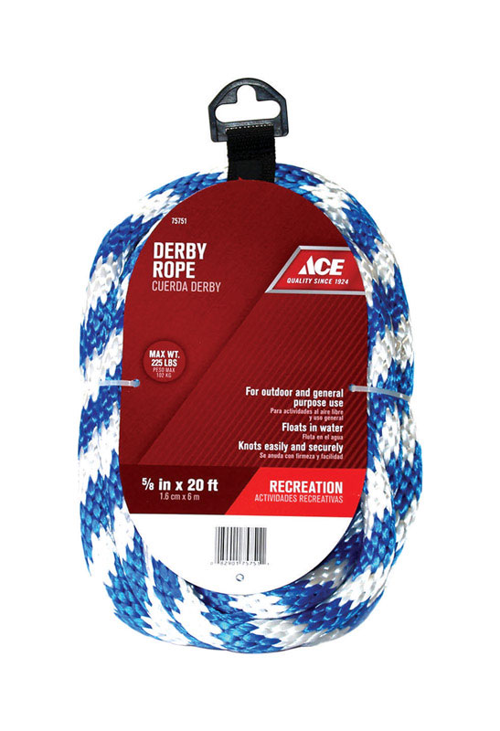 Ace  5/8 in. Dia. x 20 ft. L Blue/White  Solid Braided  Derby Rope  Poly