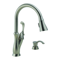 Delta  Arabella  One Handle  Stainless Steel  Pull Out Kitchen Faucet