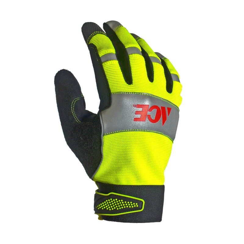 Ace  Men's  Indoor/Outdoor  Synthetic Leather  Hi-Viz  Work Gloves  Black/Yellow  M