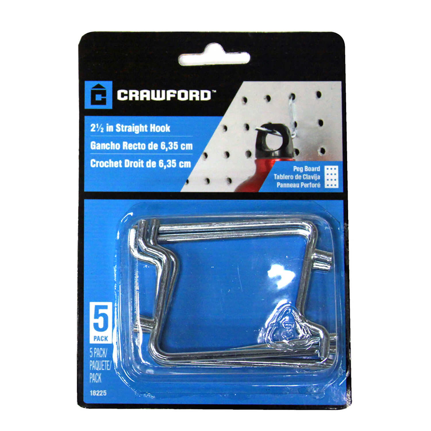Crawford  Chrome Plated  Silver  Steel  2.5 in. Peg Hooks  5 pk