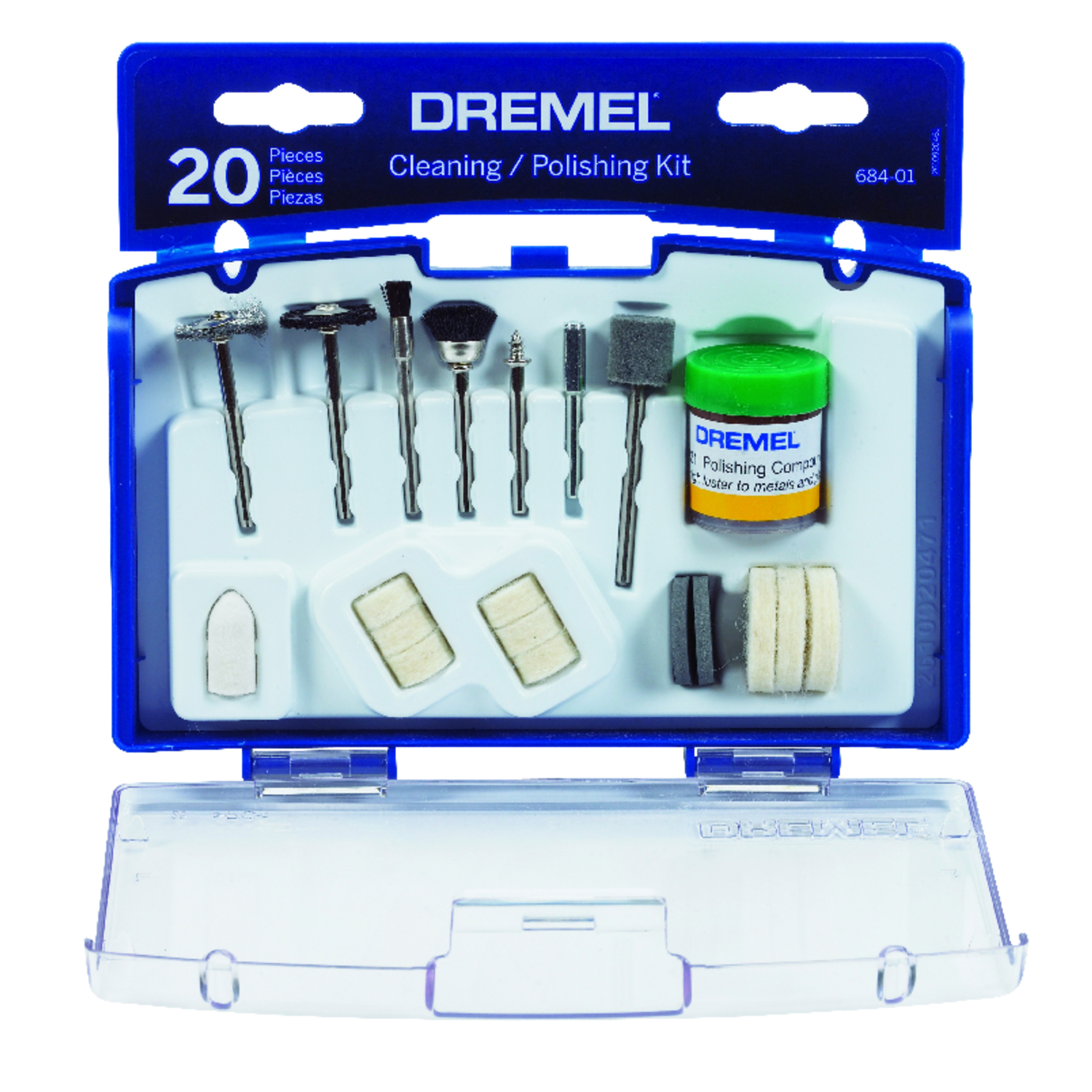 Dremel  7 in   x 7 in. L Plastic  20 pk Cleaning And Polishing Moto Tool Kit