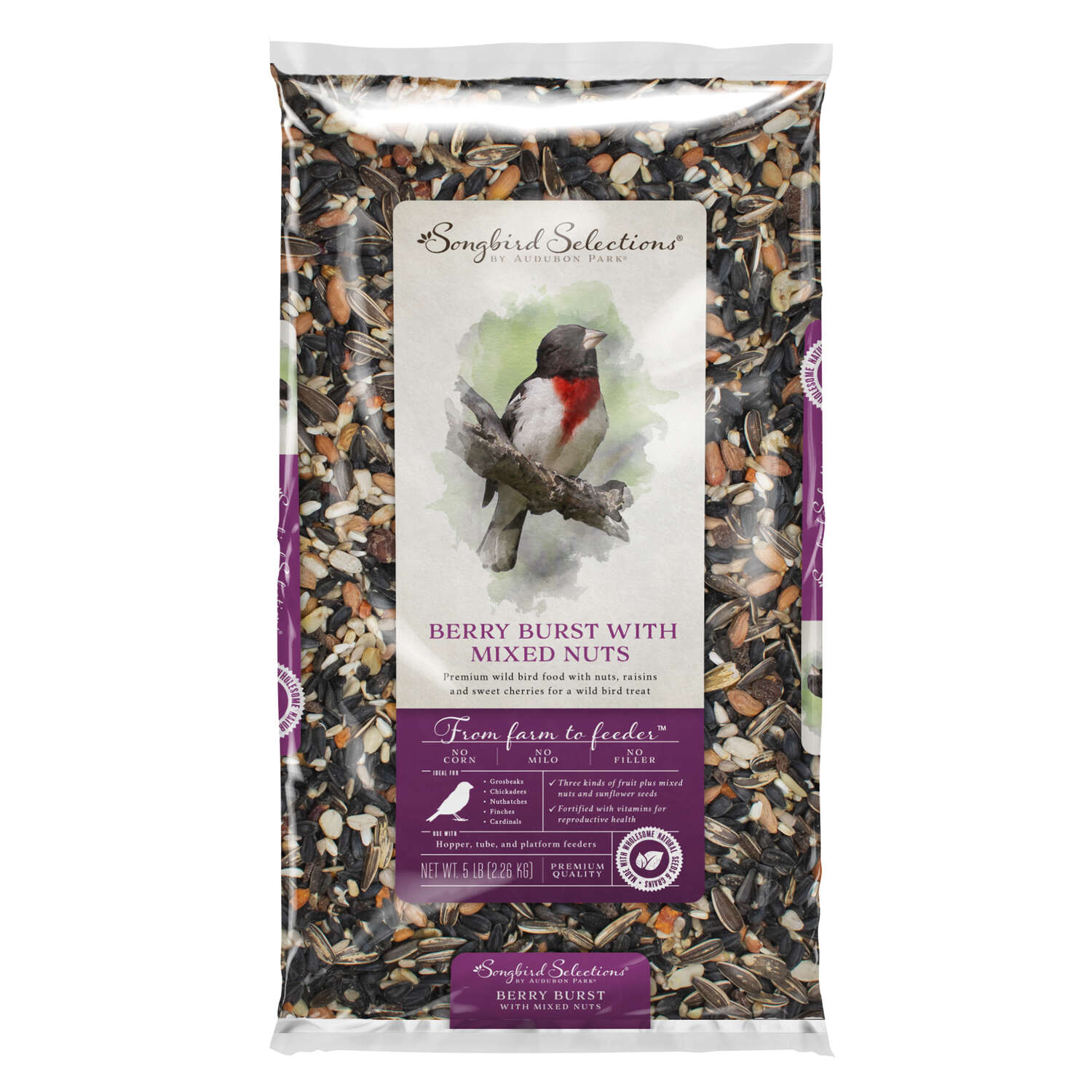 Audubon Park Songbird Selections Chickadee and Nuthatch Wild Bird Food Fruits And Nuts 5 lb.