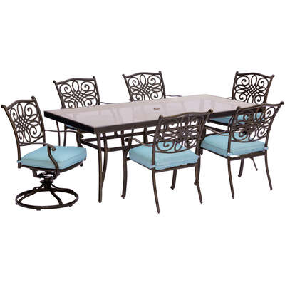 Hanover  7 pc. Bronze  Aluminum  Dining Patio Set  Blue