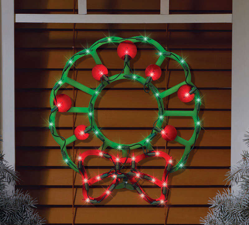 Impact Innovations  Lit Wreath Silhouette  Christmas Decoration  PVC  1 pk Red/Green