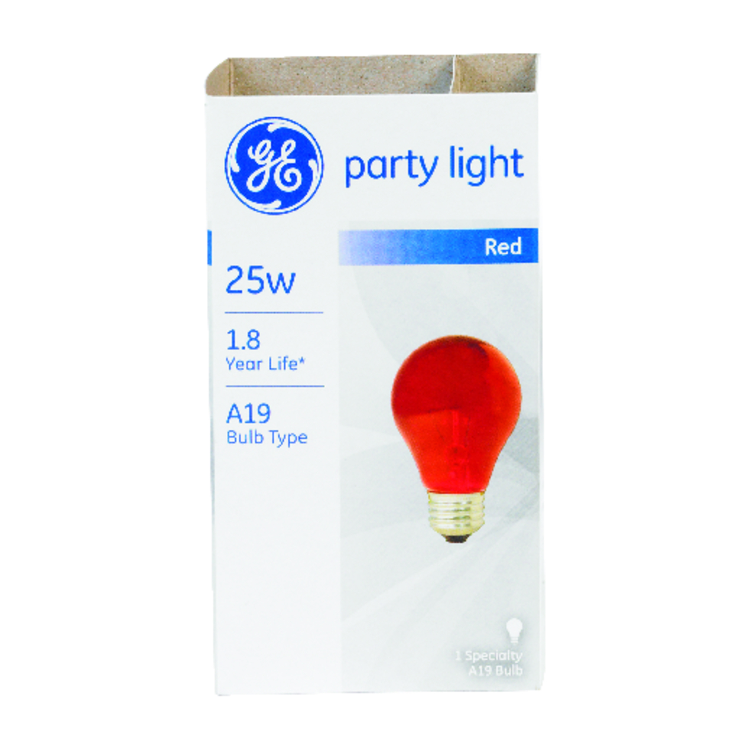 GE Lighting  party light  25 watts A19  Incandescent Bulb  200 lumens Red  A-Line  1 pk