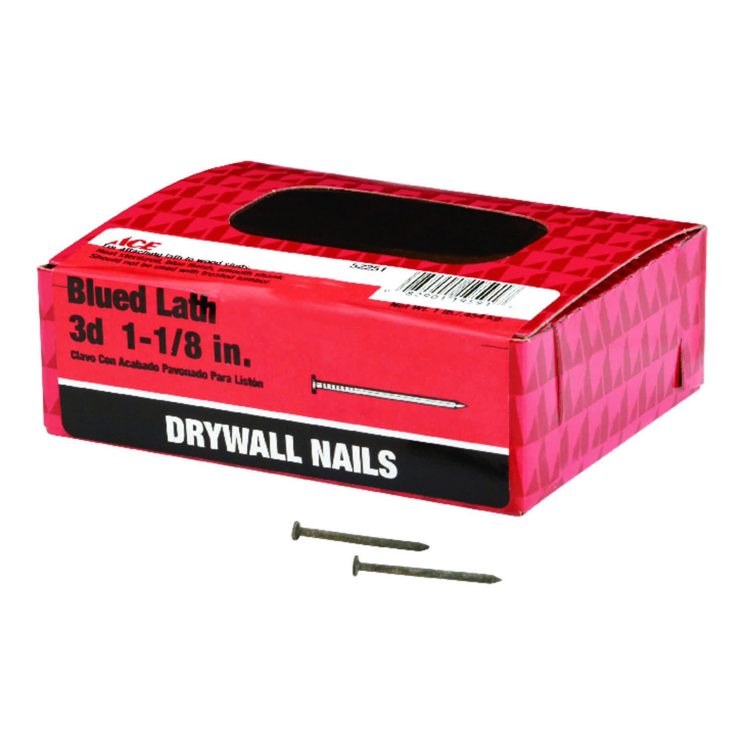 Ace  3D  1-1/8 in. L Drywall  Blue  Steel  Nail  Smooth Shank  Flat  1 lb.