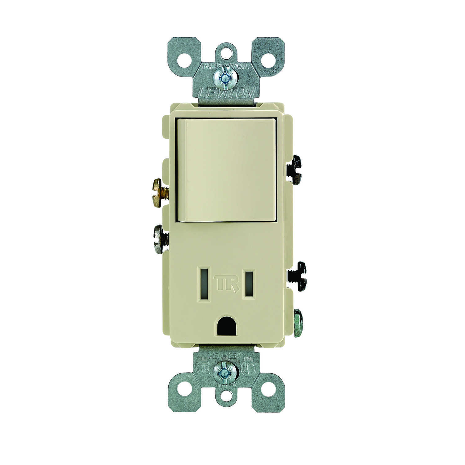 Leviton  Decora  15 amps 125 volt Ivory  Combination Switch/Outlet  5-15R  1 pk