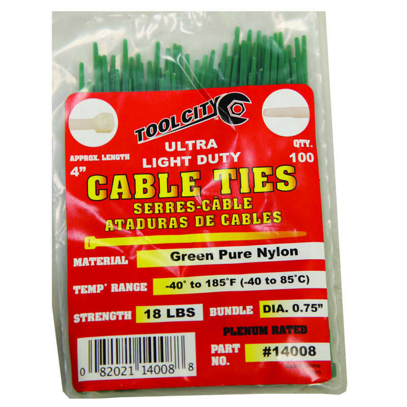 Tool City  4 in. L Green  Cable Tie  100 pk