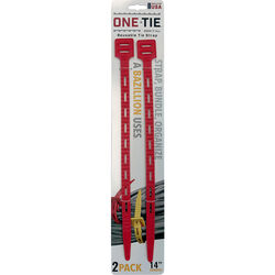 One-Tie  14 in. L Red  Reusable Tie Strap  2 pk