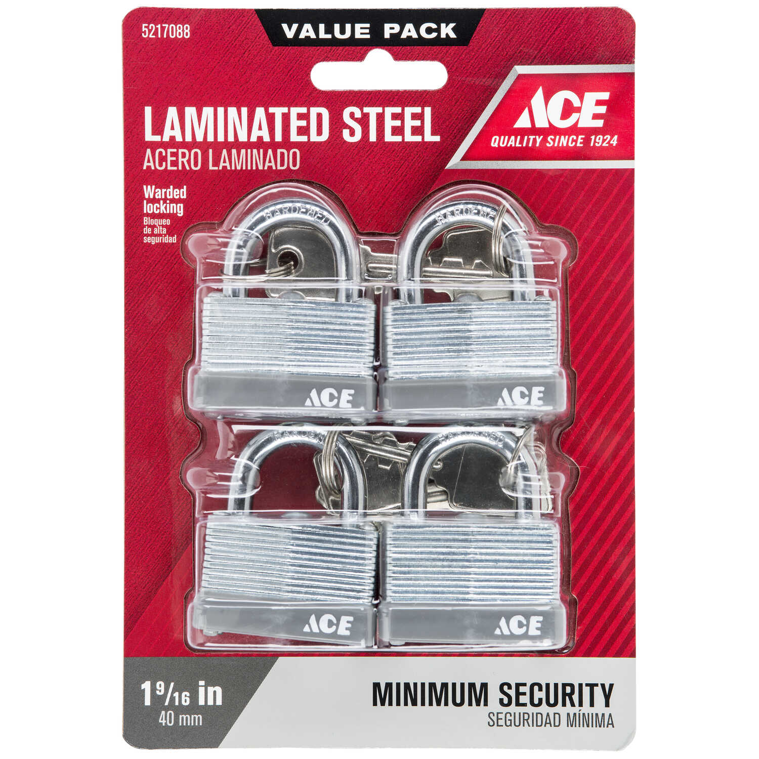 Ace  1 in. H x 7/8 in. L x 1-1/2 in. W Laminated Steel  Warded Locking  Padlock  4 pk Keyed Alike