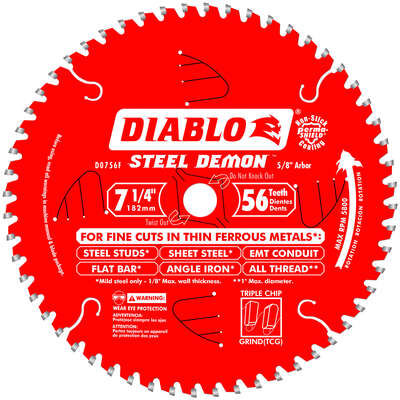 Diablo  Steel Demon  7-1/4 in. Dia. x 5/8 in.  Carbide  Circular Saw Blade  56 teeth 1 pk