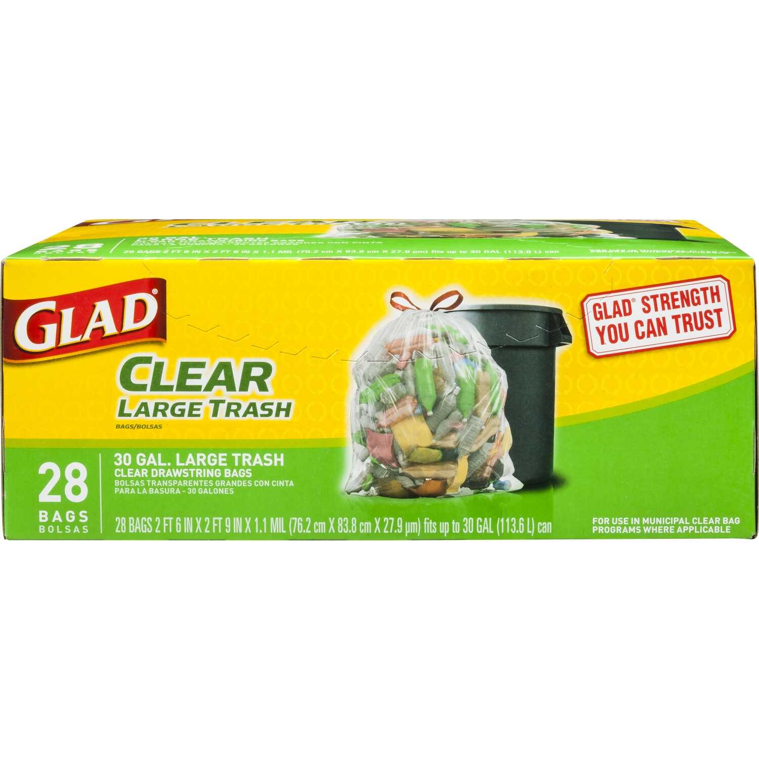 Glad  30 gal. Trash Bags  Drawstring  28 pk