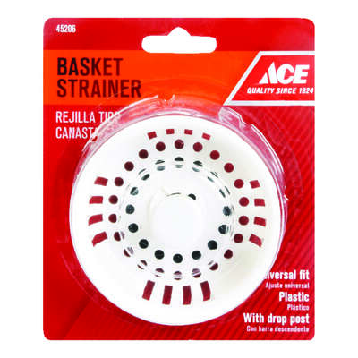 Ace  3-1/2 in. Dia. Plastic  Replacement Strainer Basket