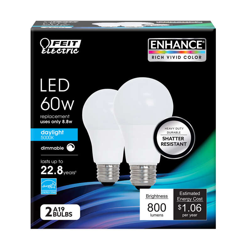 Feit Electric  A19  E26 (Medium)  LED Bulb  Daylight  60 Watt Equivalence 2 pk