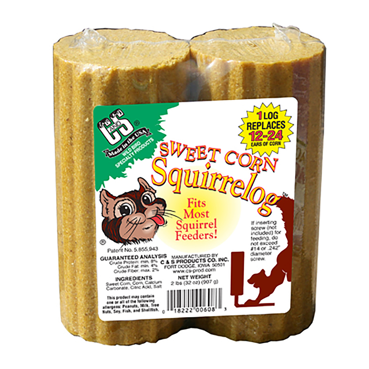 C&S Products  Sweet Corn Squirrelog  Wildlife  Squirrel and Critter Food  Corn  32 oz.