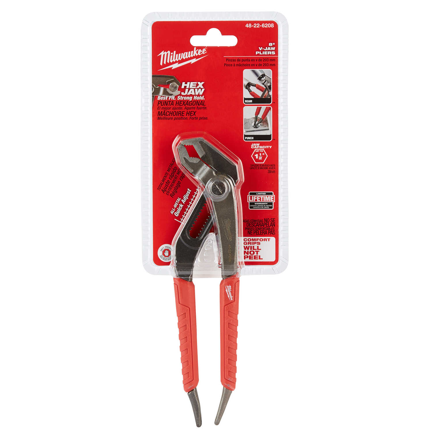 Milwaukee  REAM & PUNCH  8 in. Forged Alloy Steel  Slip Joint Pliers  Red  1 pk