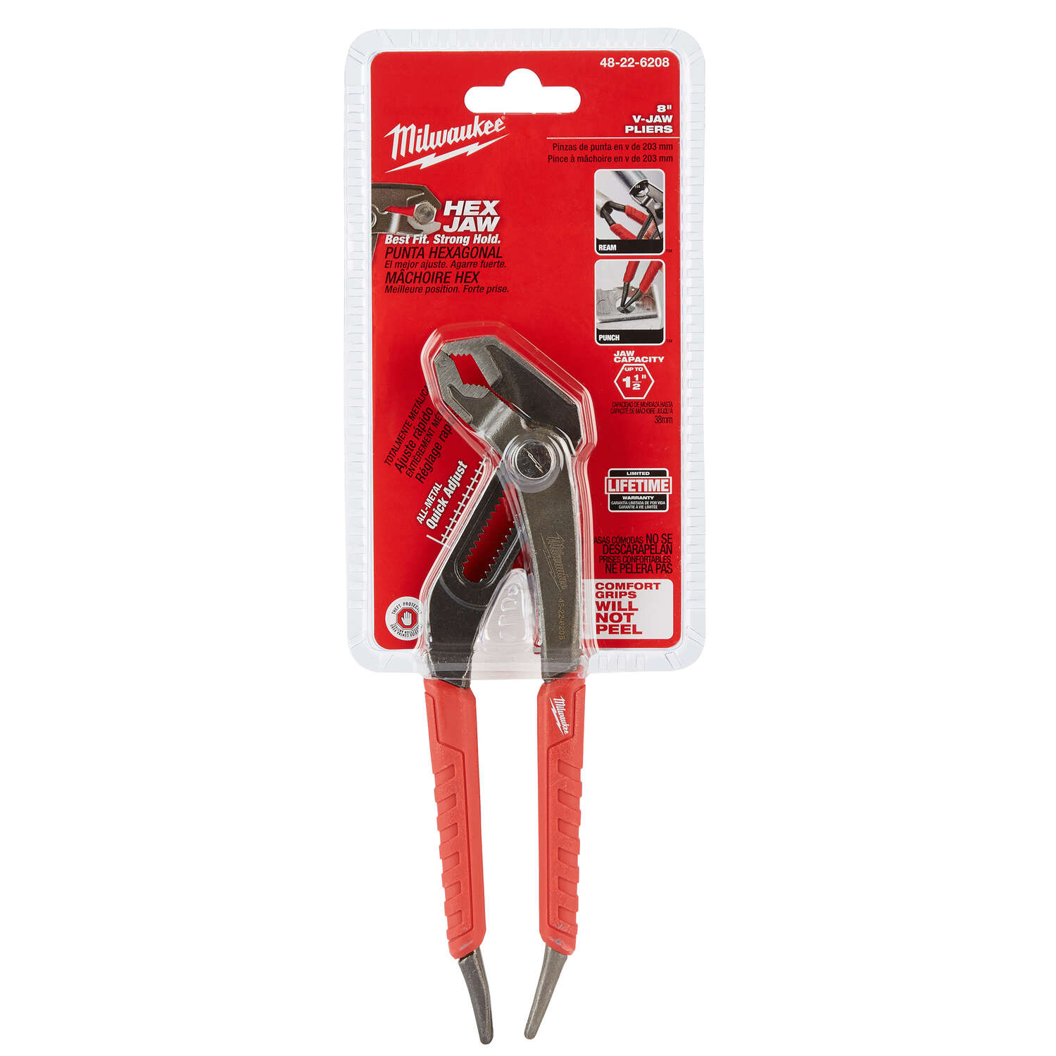 Milwaukee  REAM & PUNCH  Hex Jaw  Hex Jaw  Slip Joint Pliers  8 in. 1 pk Red  Forged Alloy Steel