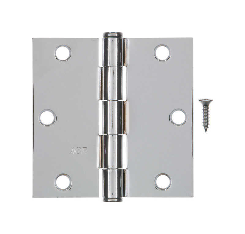 Ace  3-1/2 in. L Chrome  Steel  Door Hinge  1 pk