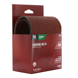 Ace  24 in. L x 4 in. W Aluminum Oxide  Sanding Belt  50 Grit Coarse  2 pc.