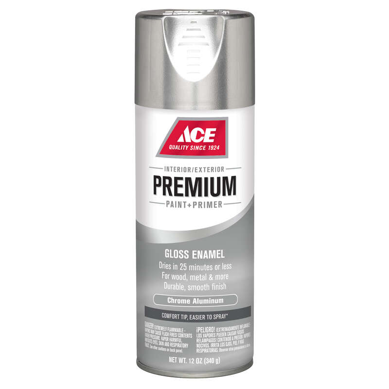 Ace  Premium  Gloss  Chrome Aluminium  Enamel Spray Paint  12 oz.