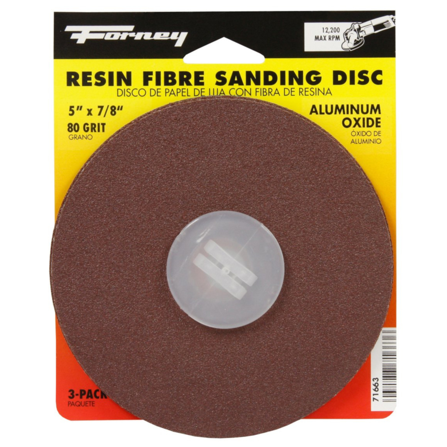 Forney  5 in. Adhesive  80 Grit 3 pk Aluminum Oxide  Sanding Disc