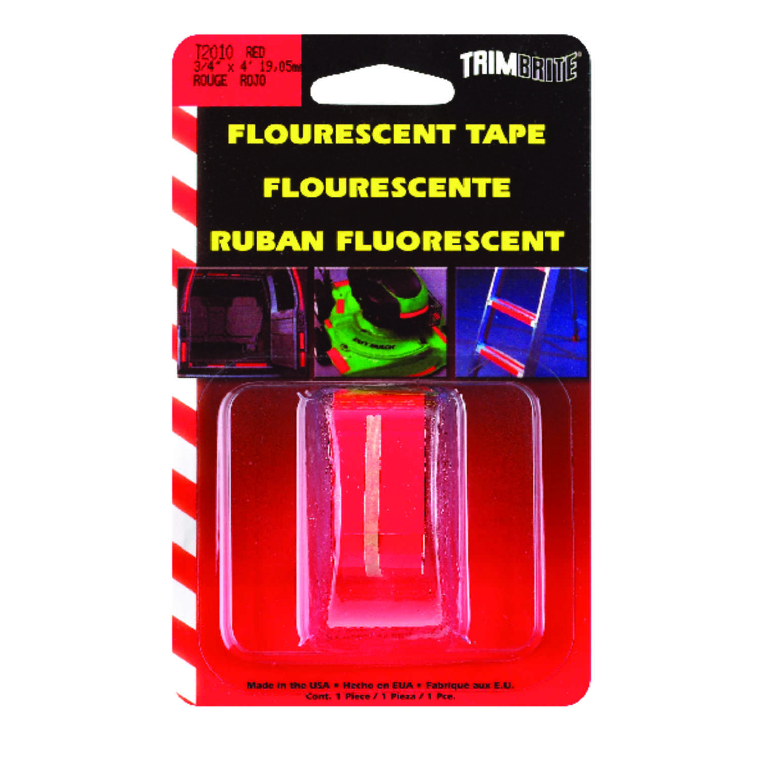 Trim Brite  3/4 in. W x 4 in. L Flourescent Red  Reflective Tape