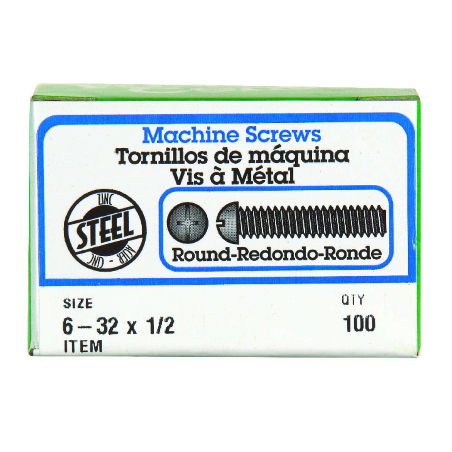 HILLMAN  No. 6-32   x 1/2 in. L Combination  Round  Zinc-Plated  Steel  Machine Screws  100
