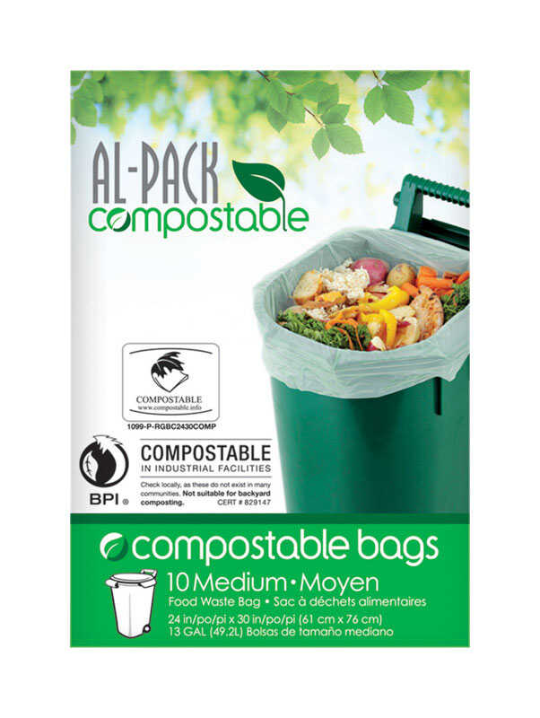 Al-Pack Compostable  Tall Food Waste  13 gal. Compost Bags  Flat Top  10 pk