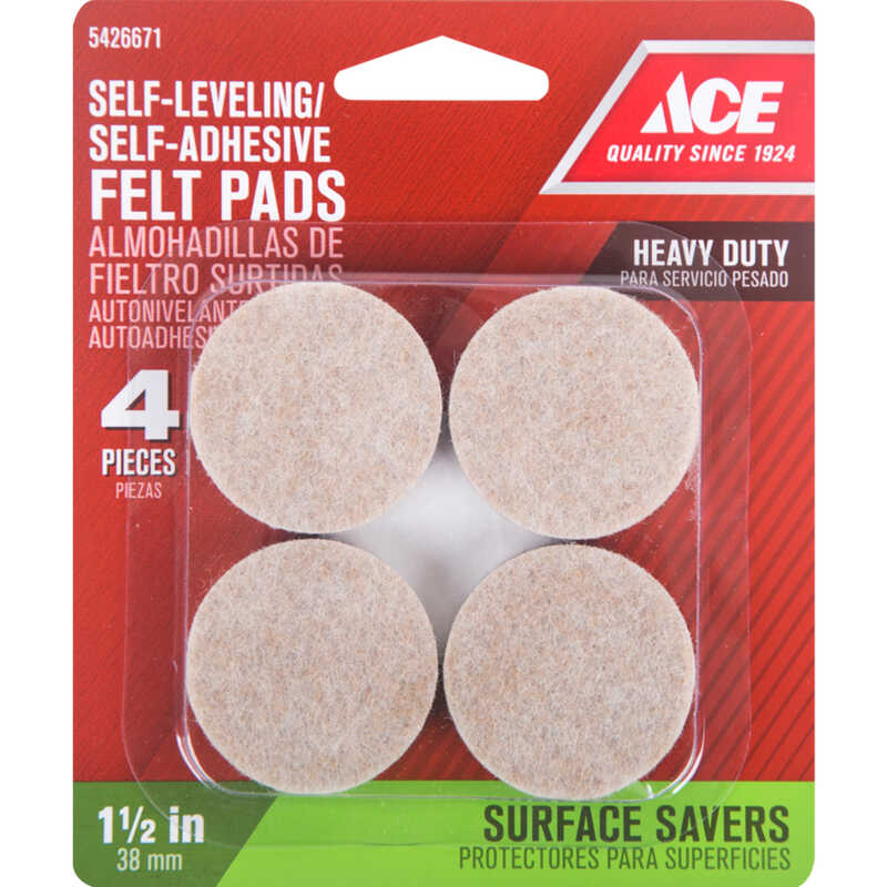 Ace  Felt  Pad  Brown  Round  1-1/2 in. W 4 pk Self Adhesive