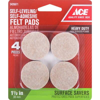 Ace  Felt  Self Adhesive Pad  Brown  Round  1-1/2 in. W 4 pk