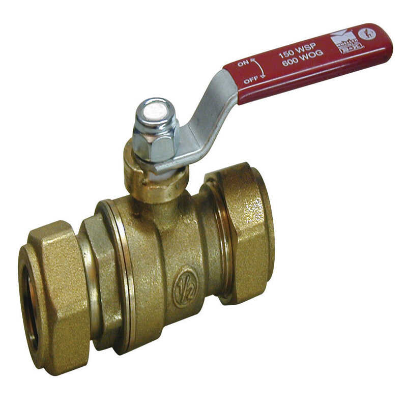 Mueller  Ball Valve  1/2 in. Compression   x 1/2 in. Dia. Compression  Brass  Packing Gland